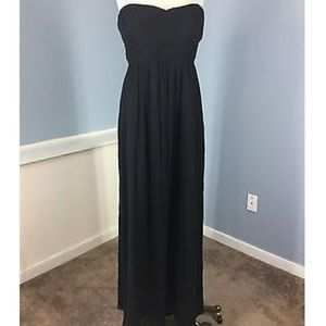 J. Crew Taryn Black Silk Chiffon Evening Gown